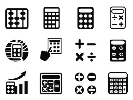 abaco: aislados iconos Calculadora negro establecidos de fondo blanco