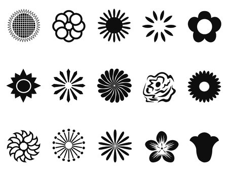 isolated black abstract flower icons from white background Vector