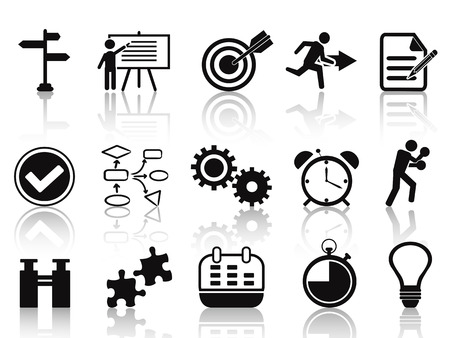 isolated black planning icons set from white background Vector