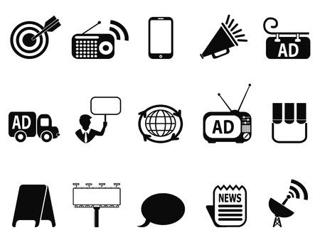 isolated black advertisement icons set from white background