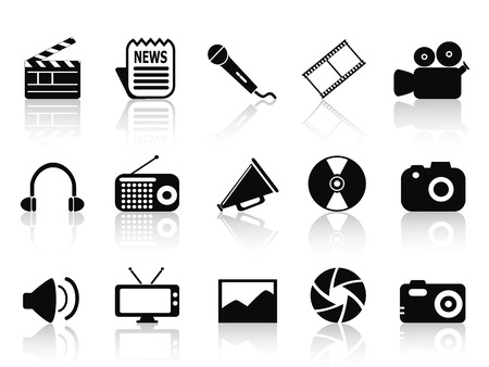 isolated black multimedia icons set from white background Vector