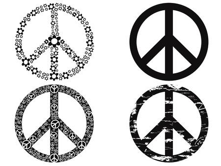 simbolo della pace: isolato 4 nero simbolo della pace su sfondo bianco