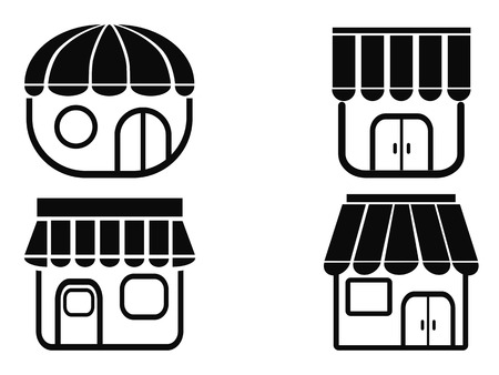 fashion building: isolated black store icons from white background