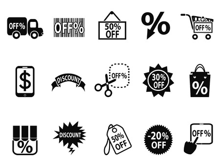 discount: isolated black discount icons set from white background