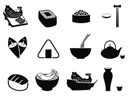 isolated black japanese food icons set from white background Vector
