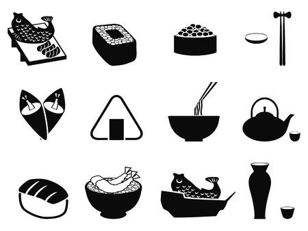 isolated black japanese food icons set from white background