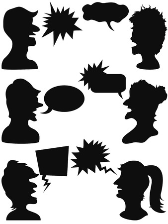 men and women talking with speech bubbles Vector