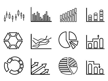 isolated business statistics outline icon set from white background Vector