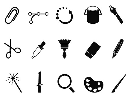 isolated graphic design tools icon set from white background