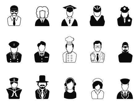 isolated Occupations, Avatars ,User Icons set from white background Vector