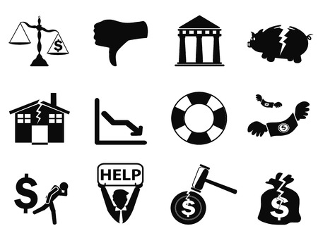 isolated black bankruptcy icons set from white background Vector