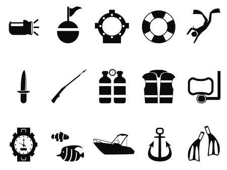 harpoon: isolated black diving icons set from white background