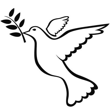 isolated black peace dove symbol on white background