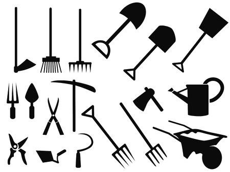 weeder: isolated black gardening tools Silhouettes from white background