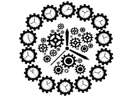 isolated black gear clock on white background Vector
