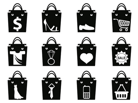 isolated black shopping bag icons set from white background Vector