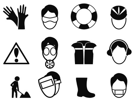 isolated black work safety icons set from white background Vector