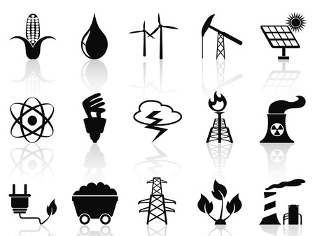 coal fired: isolated black Alternative Energy icons set from white background Illustration