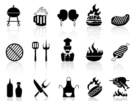 charcoal grill: isolated black barbecue icons from white background