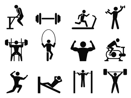 isolated Gymnasium and Body Building icons from white background