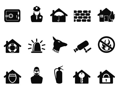 foam safe: isolated black home security icons set from white background