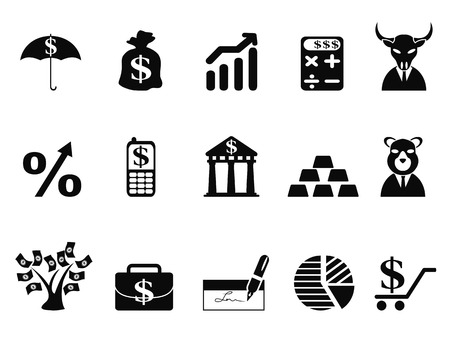 bull pen: isolated investing and Finance icons set from white background