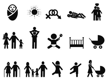 isolated family life icons set from white background Vector
