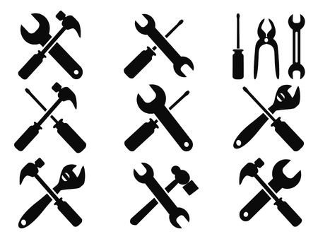 hardware tools: isolated repair tool icons set from white background