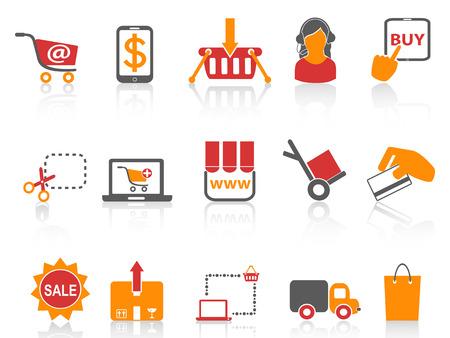 geïsoleerde winkelen online iconen oranje serie van witte achtergrond