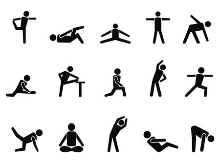 salud y deporte: aislado negro ejercicio de estiramiento iconos de fondo blanco Vectores