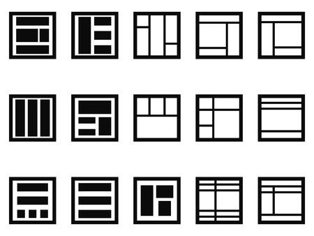 editor: isolated web layout icons on white background