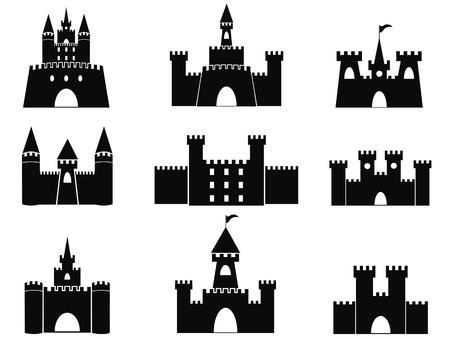 castello medievale: isolato castello nero icone da sfondo bianco Vettoriali