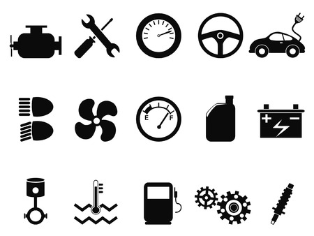 isolated black car engine icons set from white background Vector