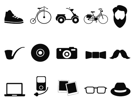 isolated black hipster icons set from white background Vector