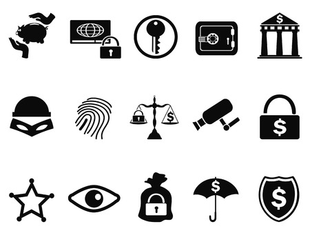 security icon: isolated bank security icons set from white background