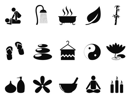 simple purity flowers: isolated black spa icons set from white background