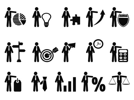 prospection: isolated stick figure with business icons from white background