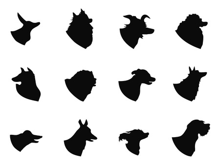 small group of animal: isolated black dog head icons from white background