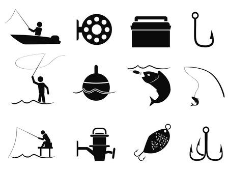 pecheur: icônes de pêche noir isolé fixés de fond blanc
