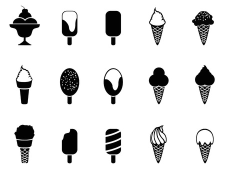 isolated black ice cream icons from white background Vector