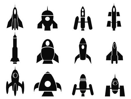 isolated black rocket icons from white background Vektorové ilustrace