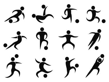 arquero de futbol: Aislado jugadores de fútbol iconos de fondo blanco