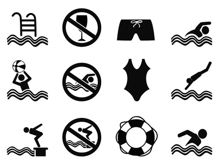 forbidden pictogram: isolated black swimming icons set from white background