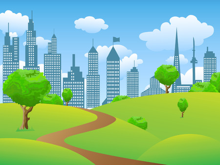 tress: the background of City park landscape with grass buildings and tress Illustration