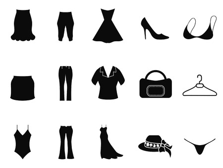 jeans skirt: isolated black woman fashion icons set from white background