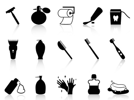 isolated Black bathroom accessories icon set from white background Vector