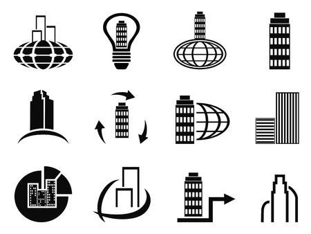 company background: isolated abstract black company icons set from white background Illustration