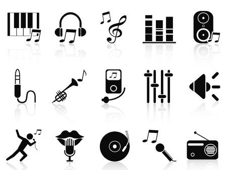 isolated black music audio icons set from white background Çizim
