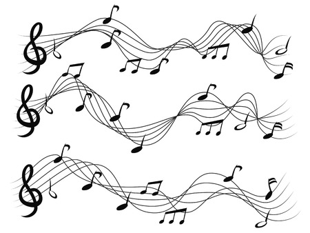 isolated Musical notes set on white background Vector