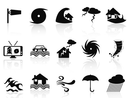 geïsoleerde zwarte storm pictogrammen instellen van een witte achtergrond Vector Illustratie